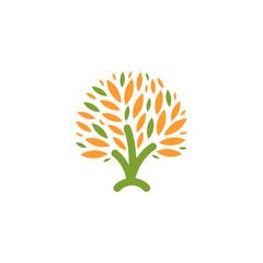 Isolated abstract green, orange color tree logo. Natural element logotype. Leaves and trunk icon. Park or forest sign. Environmental symbol. Vector tree illustration.