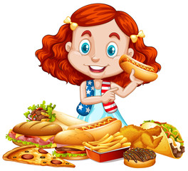 American girl and American food