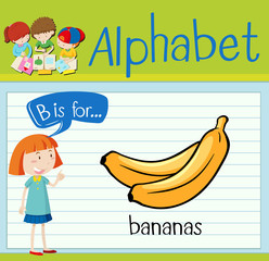Flashcard alphabet B is for bananas