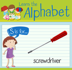 Flashcard letter S is for screwdriver