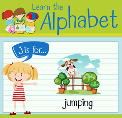 Flashcard letter J is for jumping