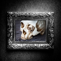 Halloween decoration with skull in silver vintage photo frame over grunge background