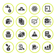 Set round icons of investment and finance