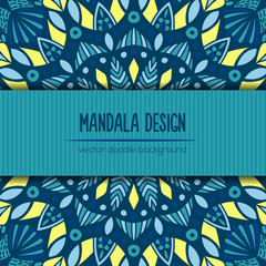 Vector tribal business card. Mandala design. Ornamental doodle background.