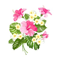Happy holiday card with floral garland. Wedding garland set with tropical flowers for invitation card. Summer holiday invitation card with floral garland with text place. Vector illustration.