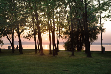 Sunset on Lake Balaton regarded among the trees of the park on t