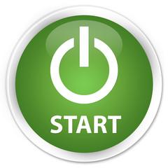 Start (power icon) soft green glossy round button