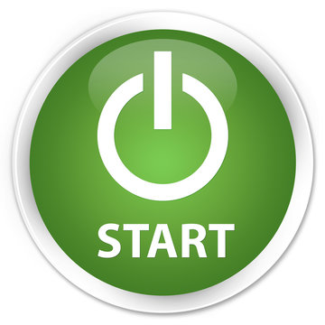 Start (power icon) soft green glossy round button