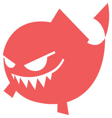 Cartoon Angry fish icon