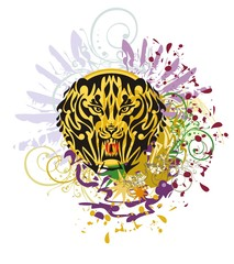 Grunge saber toothed tiger head. Saber-toothed tiger against colorful splashes with blood drops