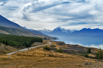 State Highway 80 or Mount Cook Road situated beside scenic Lake Pukaki leading to New Zealand's highest mountain Aoraki / Mount Cook