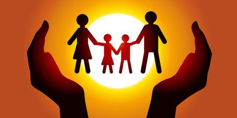 Famille - Protection - Papier découpé