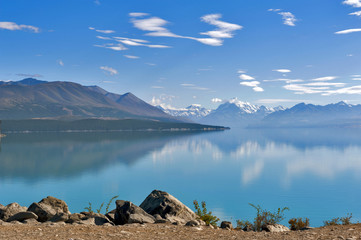 Lake Pukaki fed by the Tasman River, which has its source in the Tasman and Hooker Glaciers, close to Aoraki / Mount Cook in South Island of New Zealand