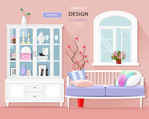 Stylish graphic room interior with pastel colors: sofa, cupboard and window. Cute room set. Vector illustration.