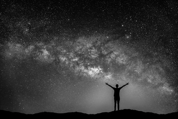 Black and white image of Landscape with Milky way galaxy. Night