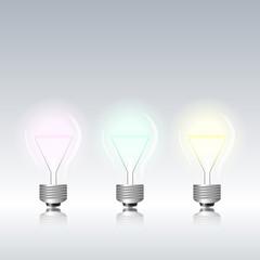 Light bulbs on gray background