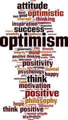 Optimism word cloud concept. Vector illustration