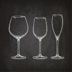 Set of empty glasses.