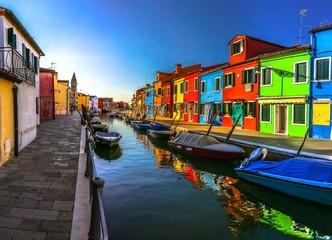 Italy beauty, morning atmosphere of canal street on Burano island, Venice , Venezia