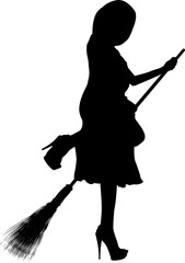 Silhouette of young beautiful girl on the broom