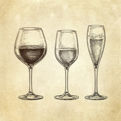 Set of wine glasses.