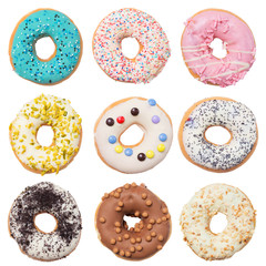 Set of assorted donuts isolated on white background