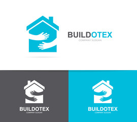 Vector house and hands logo combination. Real estate and embrace symbol or icon. Unique apartment and rent agency logotype design template.