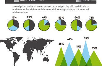 Global Data Infographic with Black and White Cityscape Illustration Element