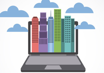 Cityscape and Laptop Illustration Infographic
