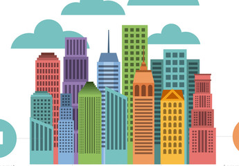Cityscape and Clouds Illustration Infographic