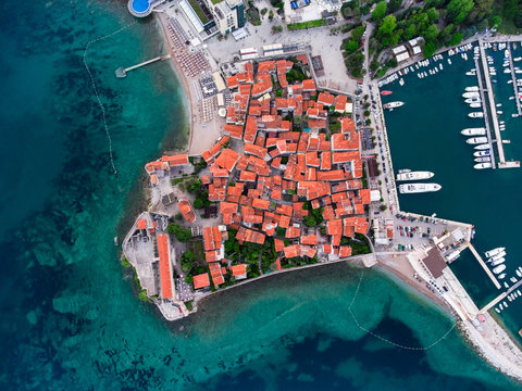 Fortress of St. Mary, walled old town of Budva city. Aerial shot from drone. Adriatic sea, Montenegro, Europe