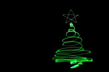 Christmass tree light painting. Abstract of lighting equipment.