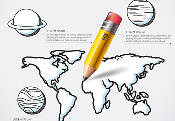 Global Education Infographic with Pencil Illustration Element and Hand Drawn Style Icons