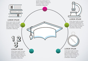 Education Infographic with Half Circle Illustration Element and Hand Drawn Style Icons