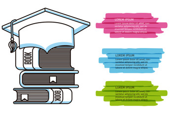 Education and Graduation Infographic with Highlighter Element