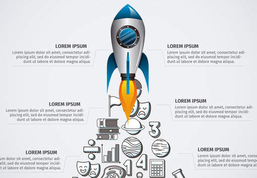 Education Infographic with Rocket Illustration Element and Hand Drawn Style Icons