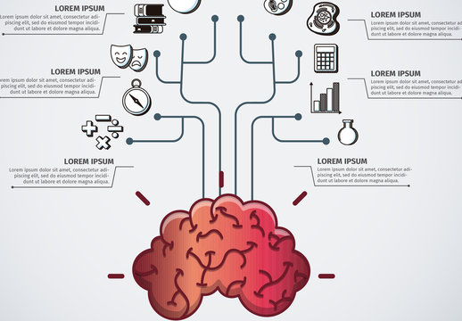 Education Infographic with Brain Illustration Element and Hand Drawn Style Icons