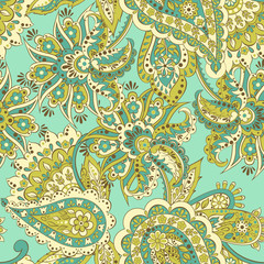 Vintage pattern in indian batik style. Seamless floral vector background