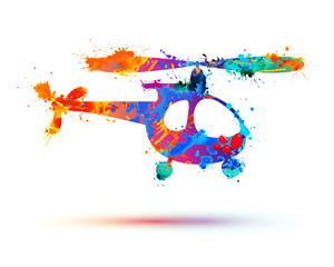 helicopter vector sign. Splash paint
