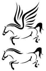 speeding winged horse design - black and white pegasus vector illustration