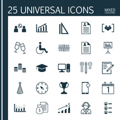 Set Of 25 Universal Editable Icons. Can Be Used For Web, Mobile And App Design. Includes Icons Such As Profit Graph, Paper, Report And More.