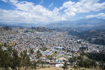 High view of the town of Guaranda, surrounded by the Andes mountains, on a sunny day. Ecuador