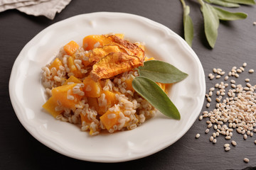 Pearl barley risotto with pumpkin and sage