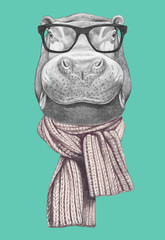 Portrait of with glasses and scarf. Hand drawn illustration.
