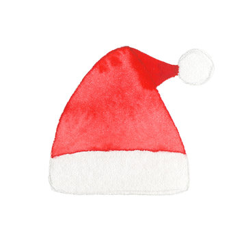 Watercolor Santa Claus hat isolated on white background