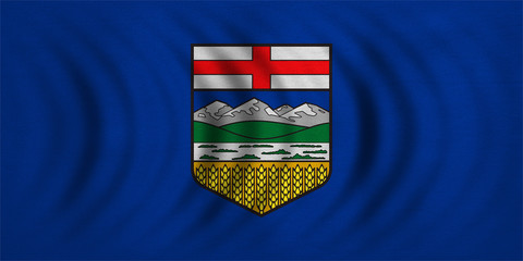 Flag of Alberta wavy, real detailed fabric texture