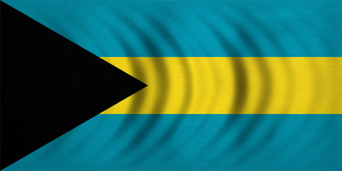 Flag of Bahamas wavy, real detailed fabric texture