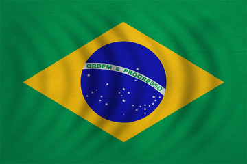Flag of Brazil wavy, real detailed fabric texture
