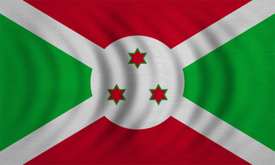 Flag of Burundi wavy, real detailed fabric texture