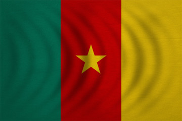 Flag of Cameroon wavy real detailed fabric texture